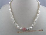 pn004 7-8mm  white button shape pearls & gemstone necklace
