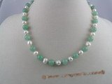 pn007 6-7mm white potato shape pearls & jade beads necklace