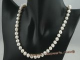 pn014 8-9mm white cultured potato shape freshwater pearls necklace