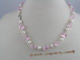 pn020 White potato shape pearl necklace with pink crystal beads