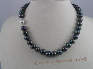 pn021 10-11mm black overtone cultured patato shape freshwater pearl necklace