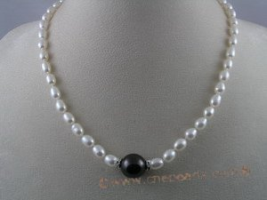 pn023 6x7mm rice shape cultured freshwater pearl necklace