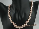 pn027 6-7mm pink side-drilled freshwater pearl necklace