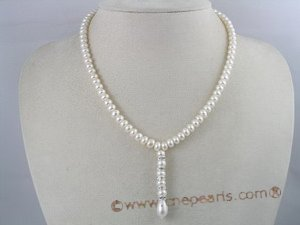 pn041 stunning 6-7mm button shape cultured pearl necklace