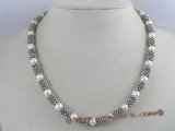 pn045 elegant looking white potato shape freshwater pearl necklace alternate with silver fittings