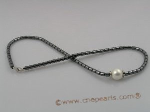 pn050 Beautiful tungsten steel beads necklace with white shell pearls beads