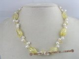 pn052 white side-dirlled cultured pearl necklace with yellow baroque crystals beads
