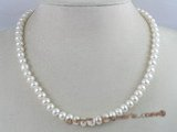 pn056 7-8mm white button shape cultured freshwater pearl necklace