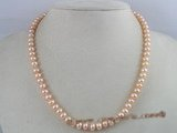 pn058 7-8mm pink button shape cultured freshwater pearl necklace