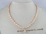 pn059 Beautiful pink rice shape cultured pearl neckalce