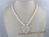 pn061 Single strand 6-7mm white potato pearl necklace with heart clasp
