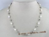 PN063 6-7mm white rice shape cultured pearl and silver fittings necklace