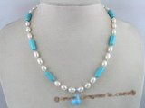 PN064 charmming 6-7mm white rice shape pearl necklace with turquoise beads