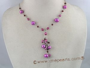 pn068 8-9mm potato shape pearl necklace with white metal chain