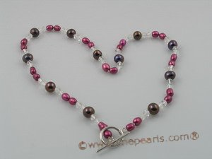 PN069 4-5mm wine red rice shape pearl necklace with faceted crystal beads