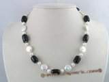 pn070 12mm white coin shape cultured pearl  necklace with tubby black agate