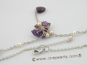 pn071 4-5mm potato pearl necklace with purple heart-shape crystal beads on metal chain