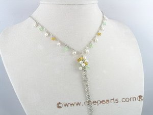 PN072 4-5mm white potato pearl and crystal beads necklace with white metal chain