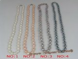pn076 6-7mm rice shape pearl sing strands necklace with lobster clasp