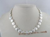 pn080 12mm white coin pearls single strands neckace