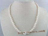 pn082 6-7mm white potato shape pearls necklace with shell pearl