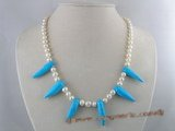 pn084 7-8mm white potato shape pearl necklace with capsicum shape blue turquoise