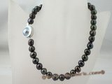 pn088 10-11mm black potato fresh water pearl necklace with sterling mabe clasp