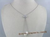 pn094 Silver Lariat Necklace with White Freshwater Rice Pearls (8-9mm), 16.5 inches