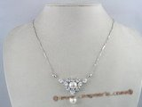 pn096  9-9.5 bread pearl sterling silver necklace with zircon