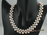 pn166 Three rows of multicolor gradual change bread pearl necklace