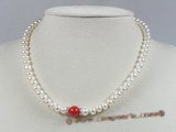 pn197 7-8mm white button shape pearls & coral beads necklace