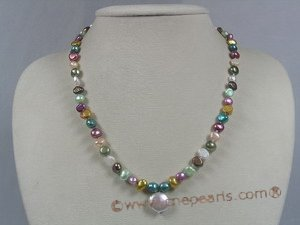 pn211 multi-color nugget freshwater pearl single necklace wholesale Cnepearls Ltd :  pearl necklaces