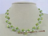 pn227 7-8mm green bread pearl & crystal beads single necklace