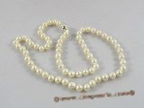 pn248 Fashion 6-7mm white off round potato cultured pearl necklace in wholesale