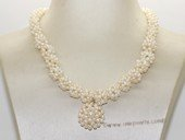 pn252 Handcraft Knitted  bridal gradual ball pearl necklace wholesale
