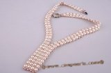 pn255 Hand knitted double rows V-necked bread pearl choker necklace for for brides