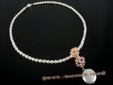 pn264 Cheery white rice shape freshwater pearl necklace with coin pearl
