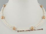 pn266 Designer Style white potato pearl choker necklace with shell pearl