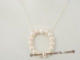 pn275 Sterling silver chain &circle potato pearl pendant necklace on sale