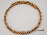 pn279 wholesale 6-7mm freshwater button pearl choker necklace in coffee color