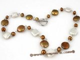 pn287 Hand warpped silver plated cultured coin pearl necklace in coffee color