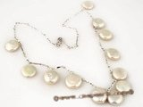 pn288 Hand warpped shining 925silver coin pearl necklace on sale