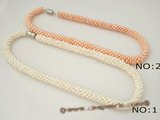 pn297 Classic Woven potato seed Pearl Designer choker Necklace in wholesale
