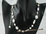 pn318 sterling silver white coin pearl and biwa pearl single necklace on sale