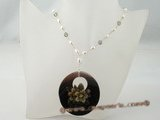 pn319 Smart sterling silver freshwater rice pearl necklace with round shell pendant