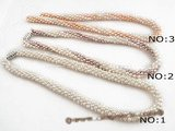 pn322 wholesale Rice seed Pearl Designer Woven choker Necklace