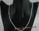 pn323 Stylish 3-4mm off round potato pearl single necklace in wholesale