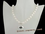 pn330 Designer sterling silver 8-9mm freshwater rice pearl costume necklace