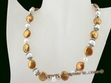 pn331 Enchanting 12-13mm coffee coin pearl costume necklace on sale