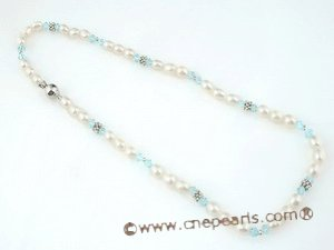 pn335 6-7mm Freshwater rice pearl costume necklace in wholesale